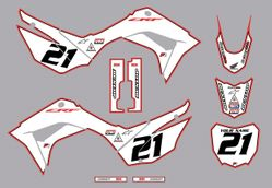 2019-2021 Honda CRF110 Bold Series Graphics Kit by Factory Ride (White-Red-Black)