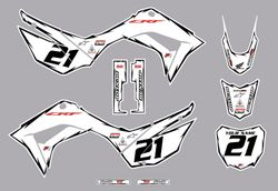 2019-2021 Honda CRF110 Shock Series Graphics Kit by Factory Ride (White)