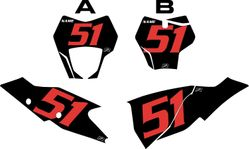 2021 Gas Gas 125-450 Black Pre-Printed Backgrounds - Red Numbers by FactoryRide
