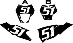 2021 Gas Gas 125-450 Black Pre-Printed Backgrounds - White Numbers by FactoryRide