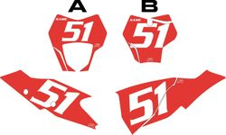 2021 Gas Gas 125-450 Red Pre-Printed Backgrounds - White Numbers by FactoryRide