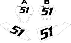 2021 Gas Gas 125-450 White Pre-Printed Backgrounds - Black Numbers by FactoryRide
