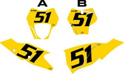 2021 Gas Gas 125-450 Yellow Pre-Printed Backgrounds - Black Numbers by FactoryRide