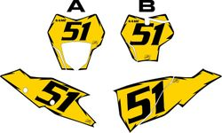 2021 Gas Gas 125-450 Yellow Pre-Printed Backgrounds - Black Shock by FactoryRide