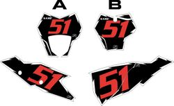 2021 GasGas 125-450 Models Black Pre-Printed Backgrounds - White Shock - Red Number