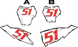 2021 Gas Gas White Pre-Printed Backgrounds - Black Shock - Red Number (125-450 Models)