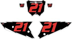 2021 Honda CRF450 Black Pre-Printed Backgrounds - White Shock - Red Number by FactoryRide