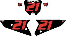 2021 Honda CRF450 Black Pre-Printed Backgrounds - Red Numbers by FactoryRide
