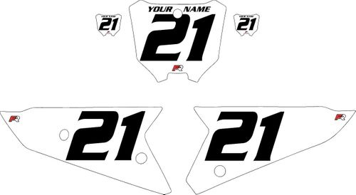 2021 Honda CRF450 White Pre-Printed Backgrounds - Black Numbers by FactoryRide