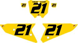 2021 Honda CRF450 Yellow Pre-Printed Backgrounds - Black Numbers by FactoryRide