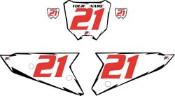 2021 Honda CRF450 White Pre-Printed Backgrounds - Black Shock - Red Number by FactoryRide