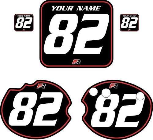 1982 Honda CR480 DC PLASTICS Black Pre-Printed Backgrounds - Red Pinstripe by FactoryRide