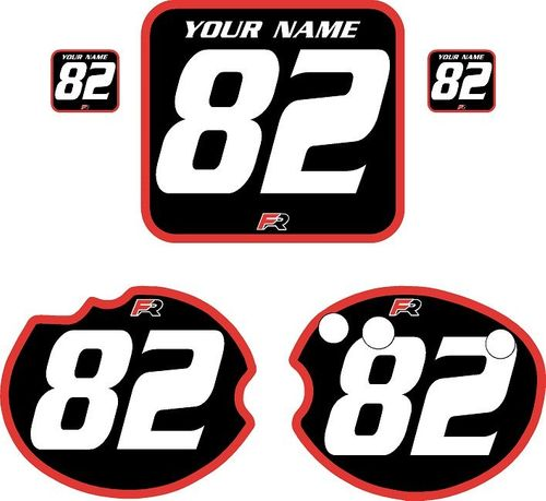 1982 Honda CR480 DC PLASTICS Black Pre-Printed Backgrounds - Red Bold Pinstripe by FactoryRide