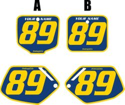 Fits Honda CR500 1991-2001 Blue Pre-Printed Backgrounds - Yellow Bold Pinstripe by FactoryRide