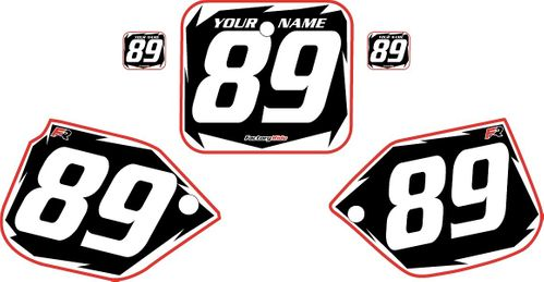 1989-1990 Honda CR125 Black Pre-Printed Backgrounds - Red Pro Shock by FactoryRide