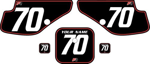 1997-2000 Honda XR70 Black Pre-Printed Backgrounds - Red Pinstripe by FactoryRide