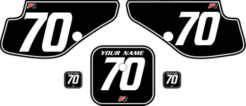 1997-2000 Honda XR70 Black Pre-Printed Backgrounds - White Pinstripe by FactoryRide