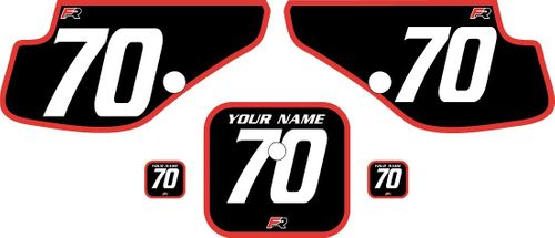 1997-2000 Honda XR70 Black Pre-Printed Backgrounds - Red Bold Pinstripe by FactoryRide