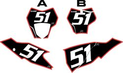 2021 Gas Gas 125-450 Black Pre-Printed Backgrounds - Red Bold Pinstripe by FactoryRide