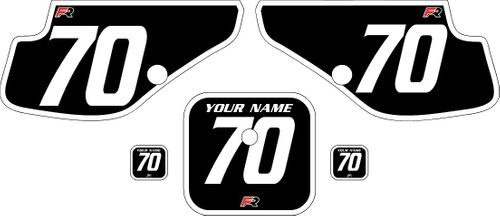 1997-2000 Honda XR70 Black Pre-Printed Backgrounds - White Bold Pinstripe by FactoryRide