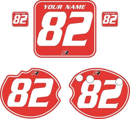 1982 Honda CR250 DC PLASTICS Red Pre-Printed Backgrounds - White Pinstripe by FactoryRide