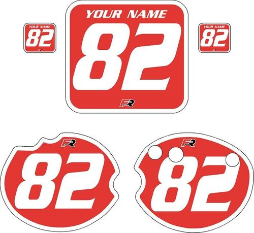 1982 Honda CR250 DC PLASTICS Red Pre-Printed Backgrounds - White Bold Pinstripe by FactoryRide