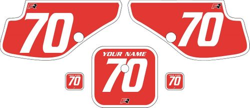 1997-2000 Honda XR70 Red Pre-Printed Backgrounds - White Bold Pinstripe by FactoryRide