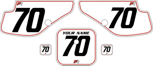 1997-2000 Honda XR70 White Pre-Printed Backgrounds - Red Pinstripe by Factory Ride