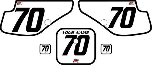 1997-2000 Honda XR70 White Pre-Printed Backgrounds - Black Bold Pinstripe by FactoryRide