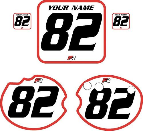 1982 Honda CR480 DC PLASTICS White Pre-Printed Backgrounds - Red Bold Pinstripe by Factory Ride