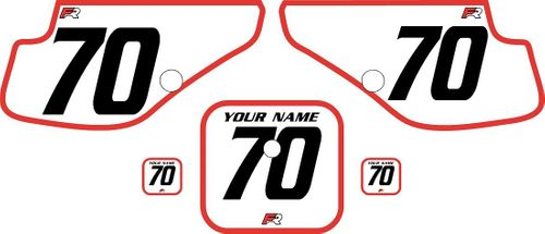 1997-2000 Honda XR70 White Pre-Printed Backgrounds - Red Bold Pinstripe by Factory Ride