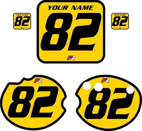 1982 Honda CR250 DC PLASTICS Yellow Pre-Printed Backgrounds - Black Bold Pinstripe by FactoryRide