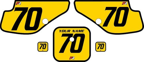 1997-2000 Honda XR70 Yellow Pre-Printed Backgrounds - Black Bold Pinstripe by FactoryRide
