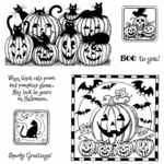 Black Cats and Jacks Cling Mount Stamp Set