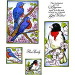 Bluebird & Grosbeak Cling Mount Stamp Set