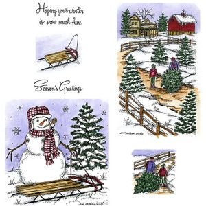 Bringing Home The Tree & Snowman Cling Mount Stamp Set