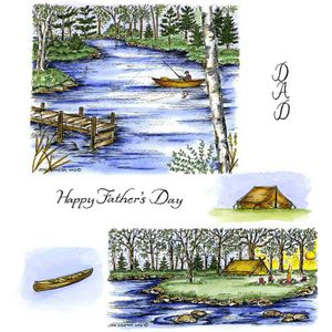 Camping & Fishing Cling Mount Stamp Set