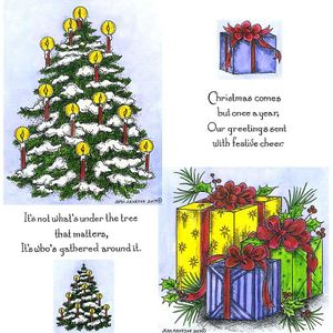 Candle Tree & Holly Presents Cling Mount Stamp Set
