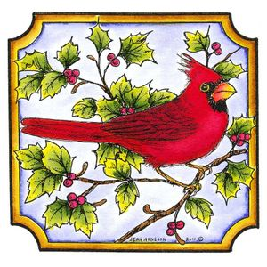 Single Cardinal In Notched Square - MM8294
