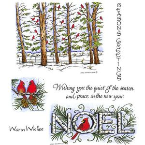 Cardinal Pine Forest & Noel Cling Mount Stamp Set