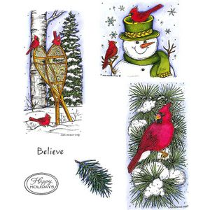 Cardinal Snow Shoes & Snowman Cling Mount Stamp Set