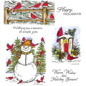 Cardinal Snowy Fence & Lantern Cling Mount Stamp Set
