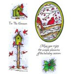 Cardinal Tall Birdhouse & Fence Cling Mount Stamp Set