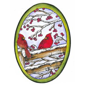 Cardinals On Fence With Berries Oval - P8300