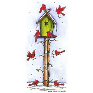 Cardinals On Tall Birdhouse - O8292