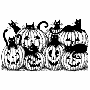 Cats and Jack O Lanterns - NN10471