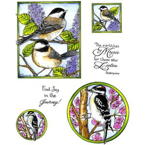 Chickadee & Woodpecker Cling Mount Stamp Set