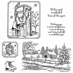 Chickadees, Sled and Winter Shed Cling Mount Stamp Set