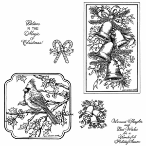 Christmas Bells and Cardinal Cling Mount Stamp Set