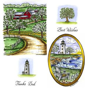 Farm & Lighthouse Cling Mount Stamp Set
